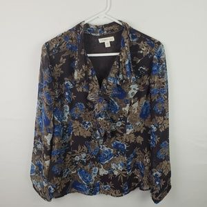 Coldwater Creek Blouse Floral Long SLeeve #295